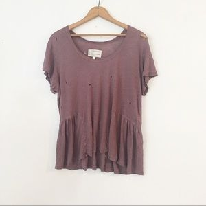 CURRENT/ELLIOT | The Girlie Mauve Distressed Tee
